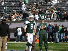 New York Jets Quarterback Mark Sanchez Warms Up