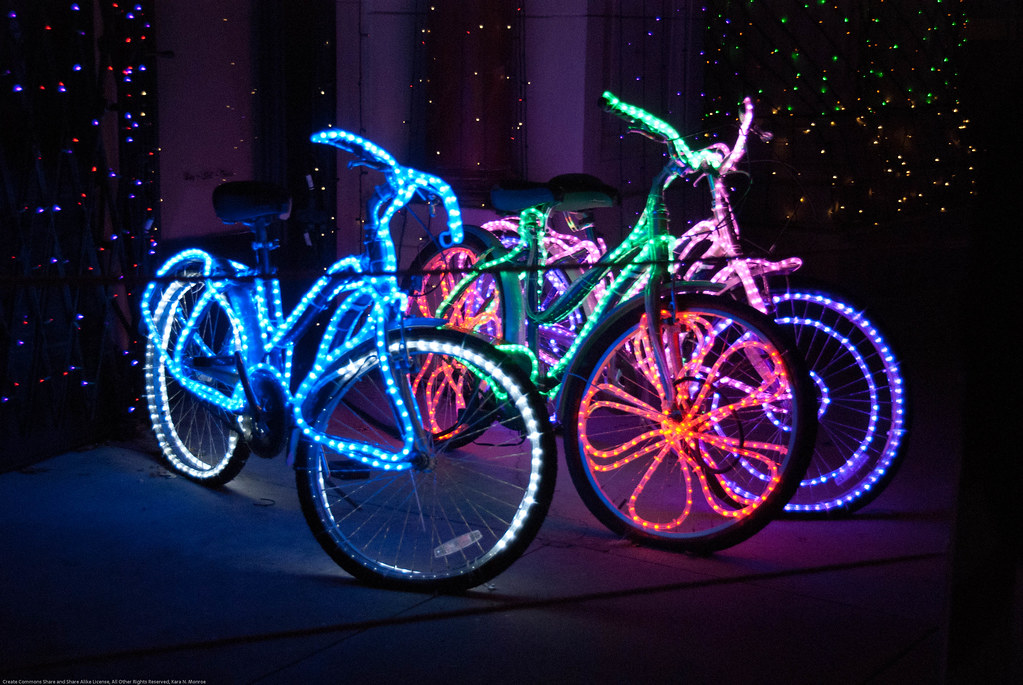Bikes all lit up