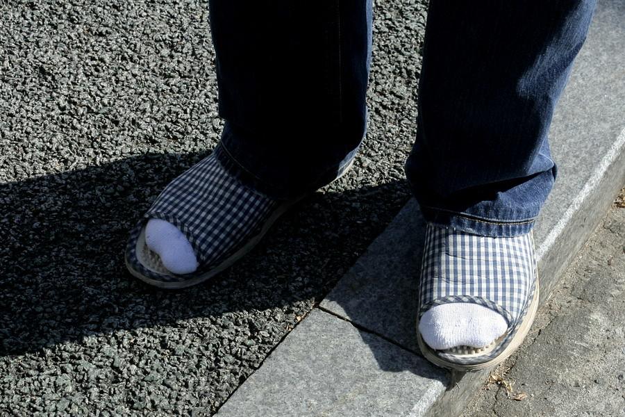 Guy in slippers