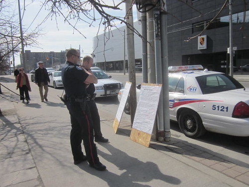 51 Division, Toronto Police read the protest signs left out front of the station on Sunday March 18th 2012