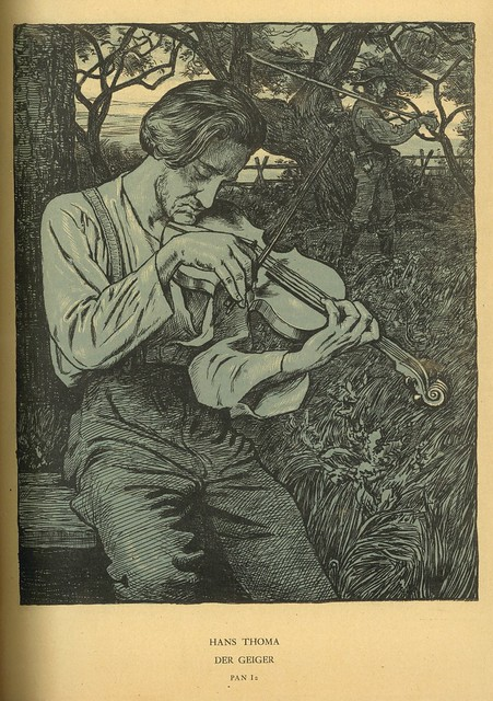Hans Thoma.  Der Geiger (The Fiddler).  Original Lithograph.  Berlin, 1895.  Pan.  Vol. I, no. 2.