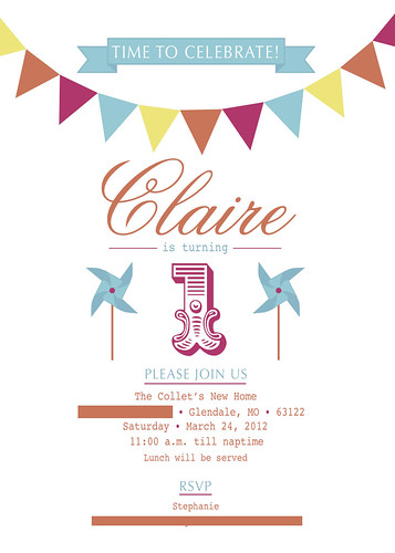 Claire 1st Birthday Invitation No Contact