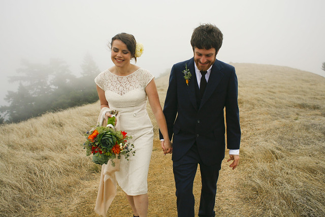 wedding photography in a foggy field