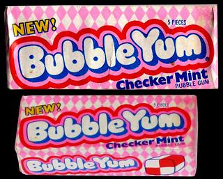Bubble Yum - Checker Mint - bubble gum pack - 1980's