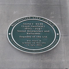 Photo of Sidney Webb green plaque