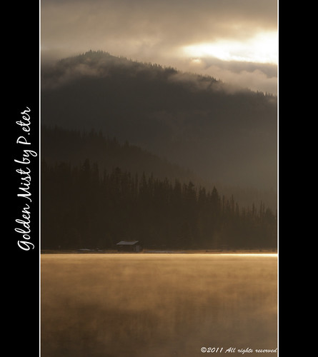 mist lake canada water clouds sunrise landscape gold nikon britishcolumbia boathouse manning lightninglake d90 goldenmist