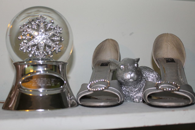snow globe, silver spray painted rabbit, heels