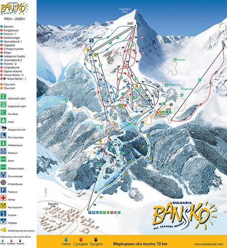 Bansko - mapa sjezdovek