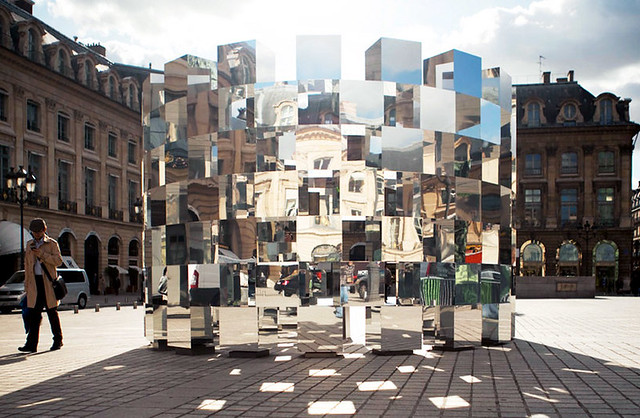 "thufri:  Arnaud Lapierre - ""Ring"" installation in Place Vendôme, Paris  french designer arnaud lapierre has created 'ring', a series of mirrored cubes placed in a circular pattern in collaboration with AUDI. the vast amount of reflections and angles warps"