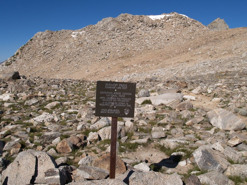 Bishop Pass Sign with Peak 12286 in the background