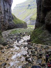 The shorter walkers contemplating Gordale Scar