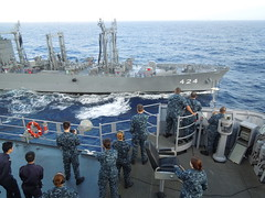 PHILIPPINE SEA (Nov. 2, 2011) The amphibious dock landing ship USS Tortuga (LSD 46) pulls alongside the Japan Maritime Self-Defense Force oiler JS Hamana (AOE 424) for a replenishment at sea during Annual Exercise 2011. (U.S. Navy photo by Ensign David Copeland)