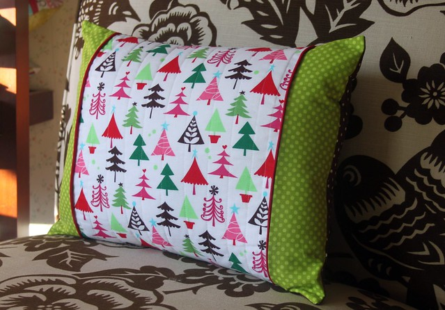Christmas Pillow with red piping