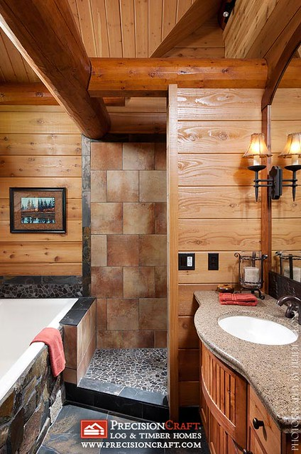 Master Bathroom in a Log Home | by PrecisionCraft Log Homes