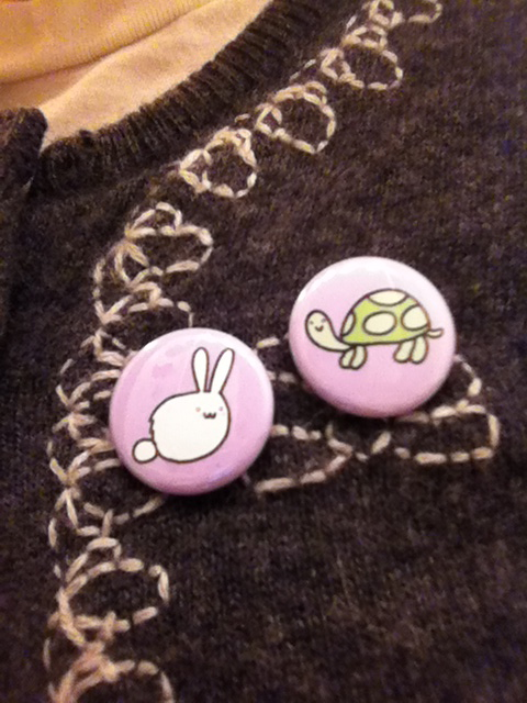 Tortoise and the Hare one inch pinback button.