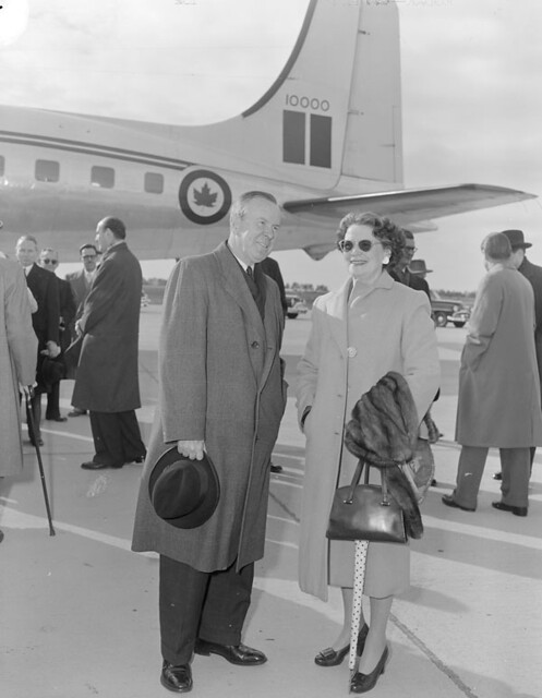 lester b pearson and his wife maryon upon arrival at uplands airport after visiting the soviet. Black Bedroom Furniture Sets. Home Design Ideas