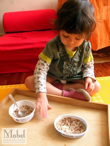 Montessori life skills: Transferring with a spoon - accidents do happen