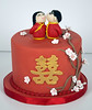 W9036 - red cherry blossom wedding cake toronto