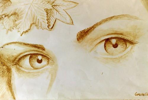 Doi ochi caprui - Pictura facuta cu cafea - Brown eyes coffe painting