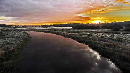 morning misty fog sunrise river denmark autmn viborg