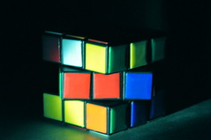 rubik's cube, yellow, light, green, blue, mechanical puzzle, toy,