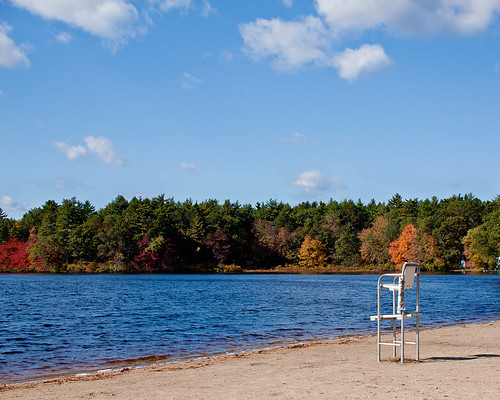 new autumn shadow england lake tree fall beach bikepath clouds forest ma sand chair massachusetts newengland bluesky lifeguard foliage chelmsford 2011 brucefreemanrailtrail hartpond heartpond