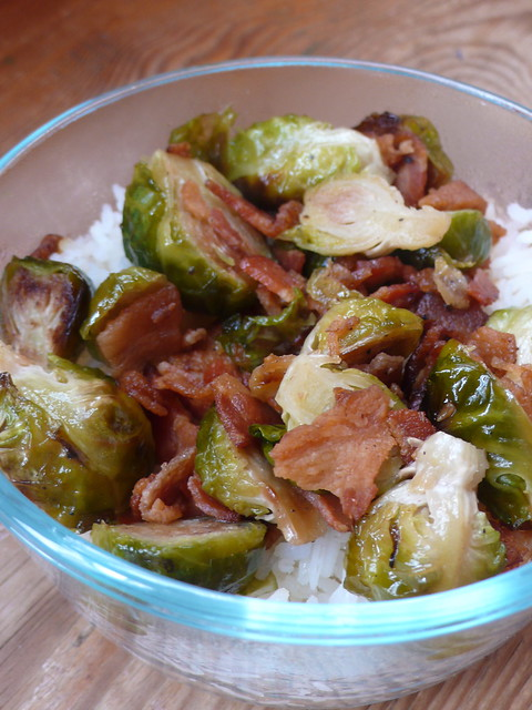 Oven-roasted Brussels Sprouts with bacon and maple syrup | Flickr ...