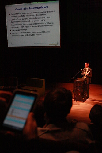 Torbjörn Fredriksson presents the UNCTAD IER report 2011 at Korzo Theatre, The Hague