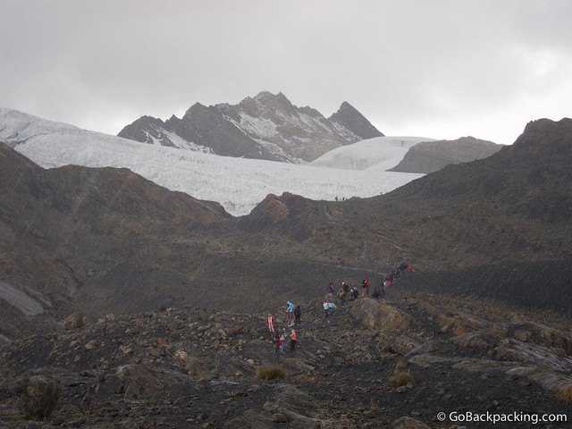 Hail and snow fall over Pastoruri Glacier