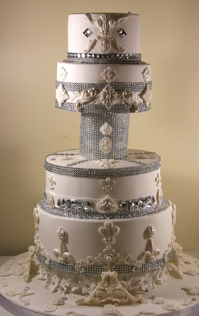 The ultimate princess cake A four tier bling wedding cake decorated with