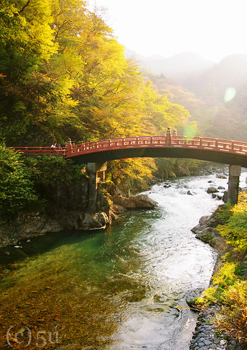 bridge autumn sunset fall japan river nikko