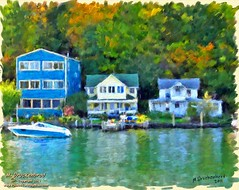 Houses on Cayuga Lake, Ithaca NY - digital oil painting