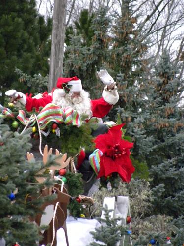 Santa lands among the trees by crisscrossgirl