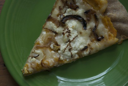 Winter squash, goat cheese and caramelized onion pizza