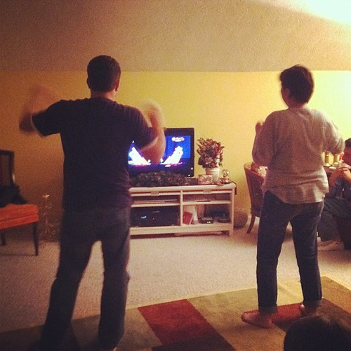 Just Dance. My husband and mom. Hilarious. #blackeyepeas