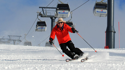 Billy Kidd skis under the gondola. Photo Courtesy Steamboat/Larry Pierce.