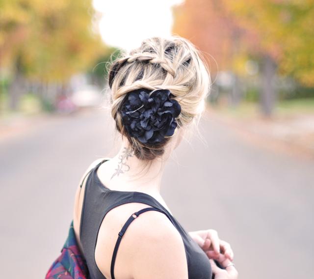 braided hair-hair with flowers-braids-plaits