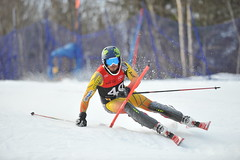 Morgan Pridy in action during the Canadian Championships slalom in Mont-Sainte-Anne, Que.