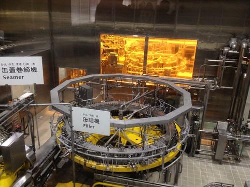 缶にビールをつめる工程。工場っぽい!@ザ・プレミアム・モルツ講座