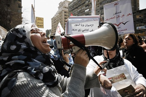 A demonstration in Cairo demanding that non-politicians draft the new constitution. Egypt's Muslim Brotherhood may seek the presidency. by Pan-African News Wire File Photos
