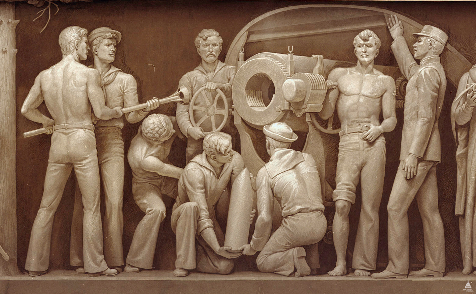 Naval Gun Crew In The Spanish American War Architect Of