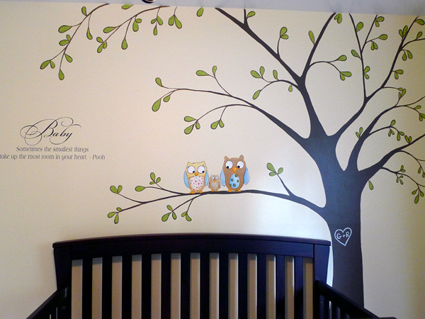 Tree mural with owls baby nursery flickr photo sharing for Baby nursery tree mural