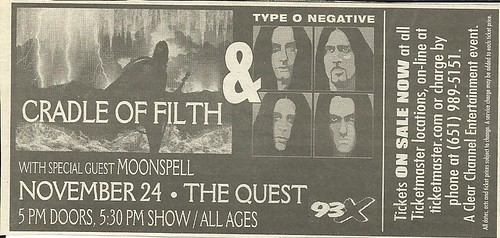 11-24-03 Cradle Of Filth-Type O Negative @ Minneapolis, MN