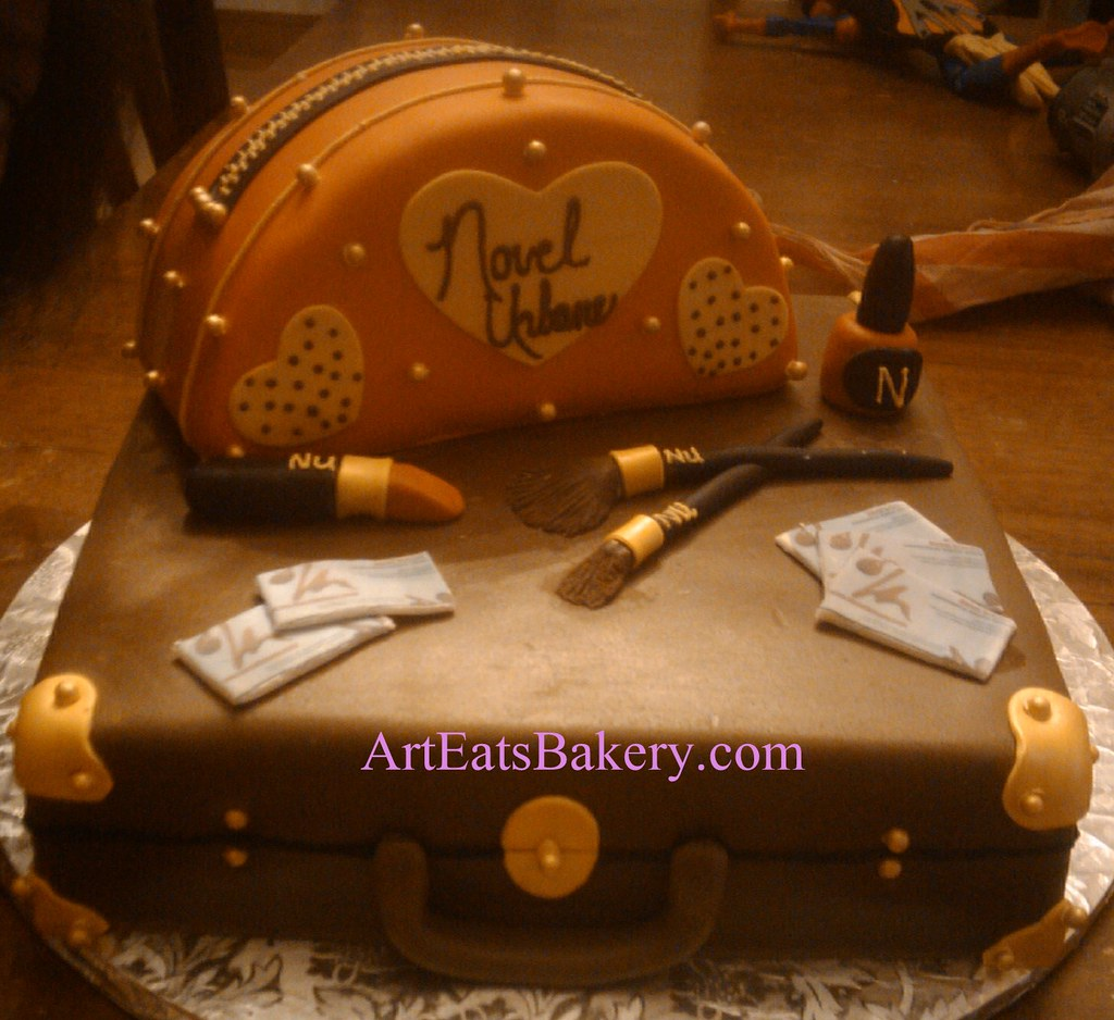 Custom unique make-up bag, suitcase, edible lipstick, nail polish ...