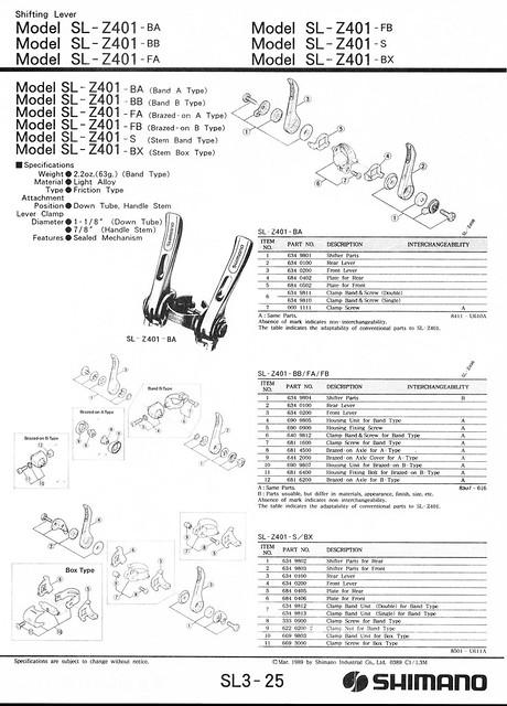 Shimano SL Z401-S _ stem shifters