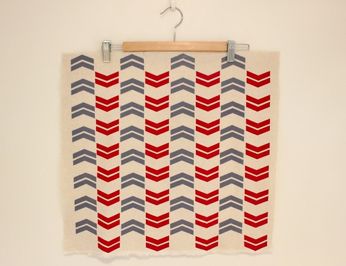 chevron - grey and red