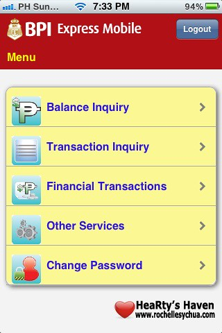 bpi express mobile menu