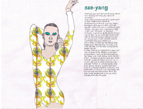 One of the pages from the SISSY calendar. The top of the page says sze-yang in in turquoise block handwriting. Underneath, there are a couple paragraphs of handwriting, but this image is too small to make out what the writing says. A person is displayed on the left of the writing, wearing a floral leotard, with dangly earings and turqouise eyeshadow. They are standing up with one hand behind their head and another one being held above their head, wrist bent and fingers pointed out.