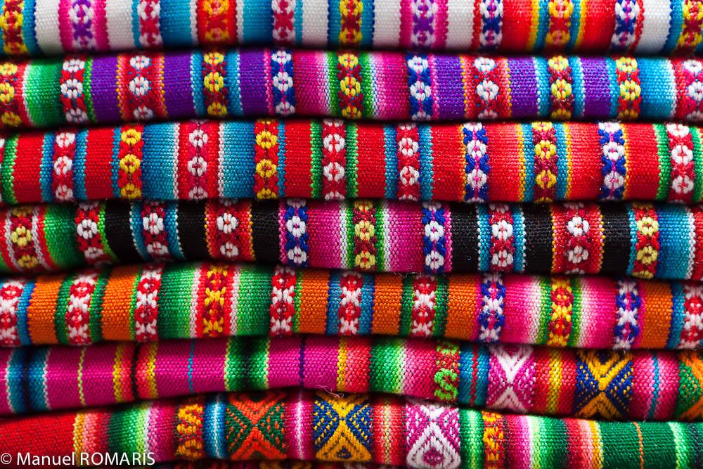 Cuzco, Peru, colorful woven fabrics