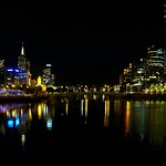 Melbourne after dark,  Yarra River from the Aquarium at Southbank